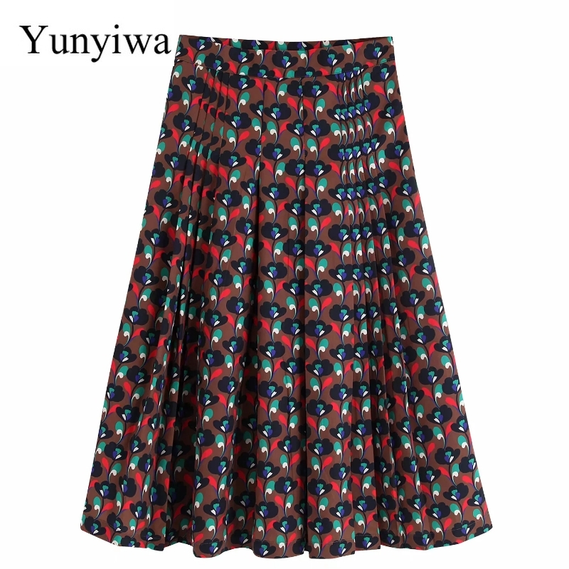 2020 Women Vintage Floral Printing Casual Pleated Midi Skirt Faldas Mujer Ladies Chic Autumn Brand Mid Calf Skirts