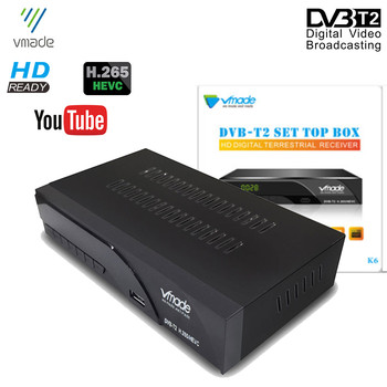 цена на Vmade Hot Sale TV Tuner DVB-T2 HD Digital Terrestrial Receiver Support H.265 MPEG4 Dolby AC3 Built RJ45 Network Set-Top Box