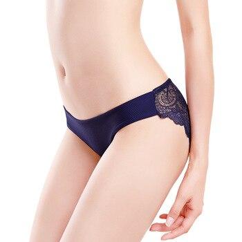 3pcs/lot  Sexy Women Panties set Lace Briefs Ice Silk Seamless Underwear Thong Lingerie Transparent Underpants String Pants #D 2