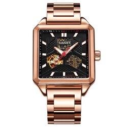 Automatyczna mechaniczna kwadratowa pusta tarcza do zegarka zwycięzca zegarek męski zegarek szkieletowy ze stali nierdzewnej różowe złoto Vintage Man Watch