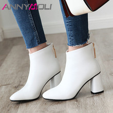ANNYMOLI Women Boots Winter Ankle Boots Crystal Thick High Heel Short Boots Zipper Square Toe Shoes Lady Fall Red Big Size 33-46 недорого