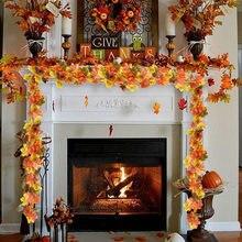 1.75m casa decoração outono folhas guirlanda folha de bordo artificial videira falso folhagem corda de ação de graças decoração do jardim natal