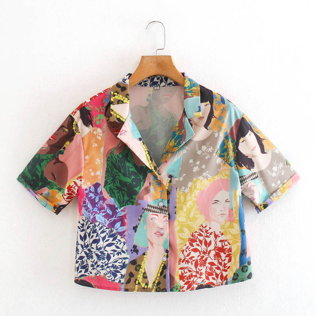 CS957 Summer Stylish Notched Neck Short Sleeve Character Print Blouse Colorful Shirts Blusas Women Clothing 1