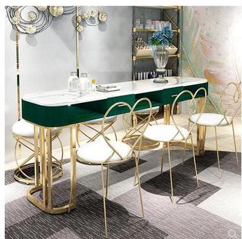 Internetowi celebryci marmurowy stół do manicure i zestaw krzeseł pojedynczy podwójny złoty żelazny dwupokładowa stół do manicure prosty lekki luksus tanie i dobre opinie Stół paznokci Meble komercyjne Meble do salonu