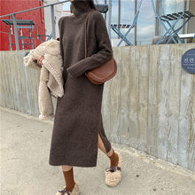 Pengpious fashion sweater long dress Korea design solid color long loose women sweater turtle neck high splits(China)