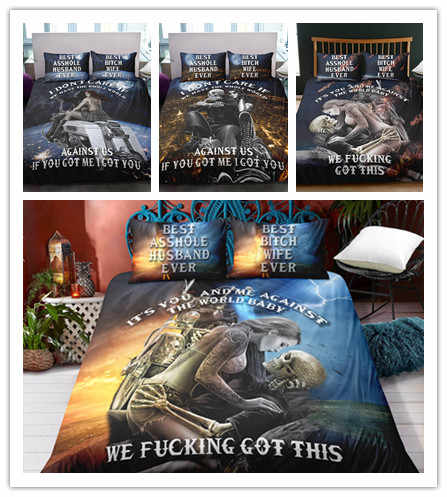 Home Textile New Style Duvet Cover Queen Size Luxury  Skull Bedding Set King Size 3D Skull Beddings and Bed Sets