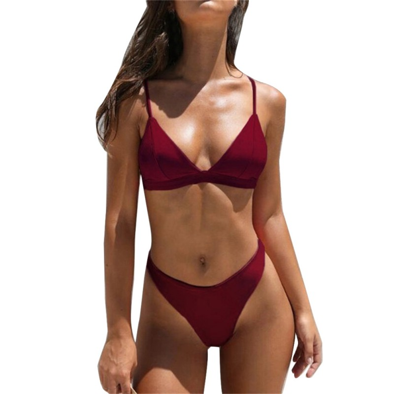 Sexy Brazilian Bikini Set Women Solid High Cut Swimsuit Swimwear Summer Beach Wear Female Low Waist Red Bathing Suit Biquini
