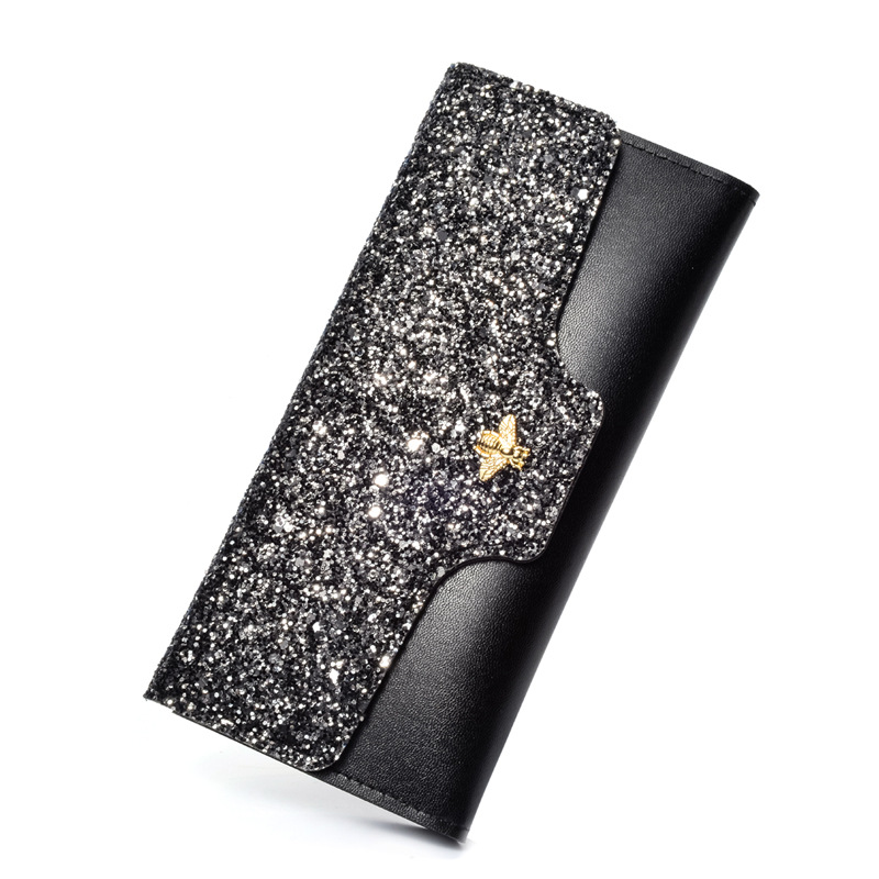 Women Wallets Cute Long Purse Fashion Fancy Hasp Gemstone Purse Long Shiny Glitter Sequins Bee Design Girl Wallets Carteira