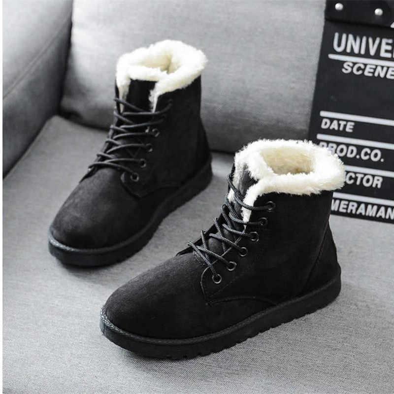 2019 yeni klasik kadın kışlık botlar süet ayak bileği kar botları kadın sıcak kürk peluş astarı yüksek kaliteli Botas Mujer dantel -Up 35-40