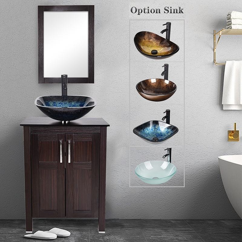 Bathroom Cabinet Mirror Vessel Sink Faucet Pop Up Drain Combo Set Glass Basin Sink Wood Vanity 2020 Bathroom Vanities Aliexpress