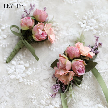 LKY Fr Wedding Wrist Corsage Bridesmaid Bracelet Silk Flower Wrist Corsage Bracelets Wedding Hand Flowers Boutonniere Groomsmen