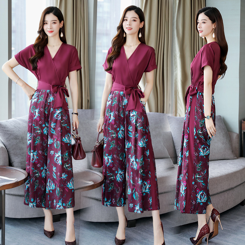 2019 Summer New Style WOMEN'S Dress High-waisted Slimming Printed Chiffon Wide-Leg Onesie Korean-style Elegant Pendant Sense Pan