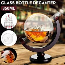 Etched Globe Design Decanter 850ml Whiskey Wine Decanter with Wood Frame for Home Bar TN99