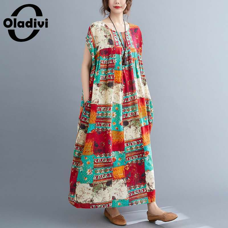 Oladivi Oversized Plus Size Women's Cotton Linen Dress Large Size Fashion Print Summer Long Dresses Female Tunic 3XL 4XL 5XL 6XL