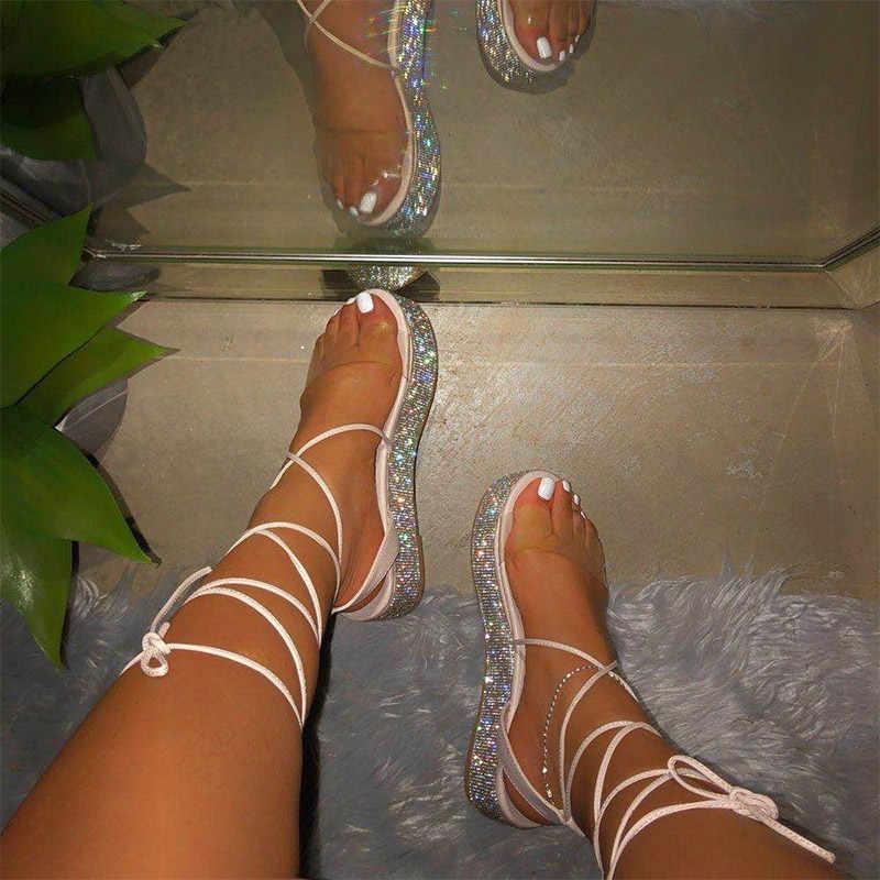 MCCKLE kadın şeffaf Bling sandalet bayanlar düz Plastform Riband çapraz kravat ayakkabı kadın moda rahat kadın yaz 2020 yeni