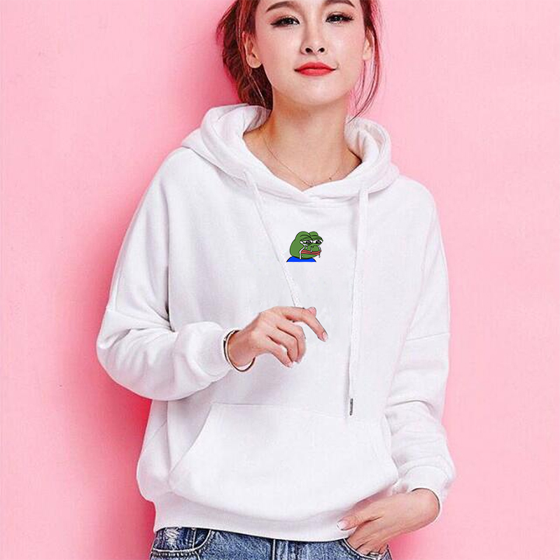 Sad Tearing Frog Print Long Sleeve Hoodies Men Women Hooded Sweatshirts Harajuku Hip Hop Japanese Streetwear Pullovers Clothes