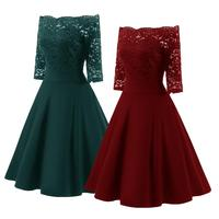 Women Party Slash Neck Dress Flower Lace Sexy Off Shoulder Ball Prom Gown Dress Elegant Formal Fashion Dress