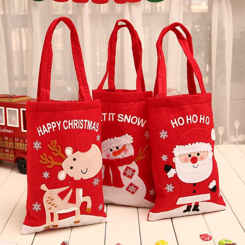 Christmas Candy Holder Storage Handle Bag Xmas Party Favors Gift Decoration F42A