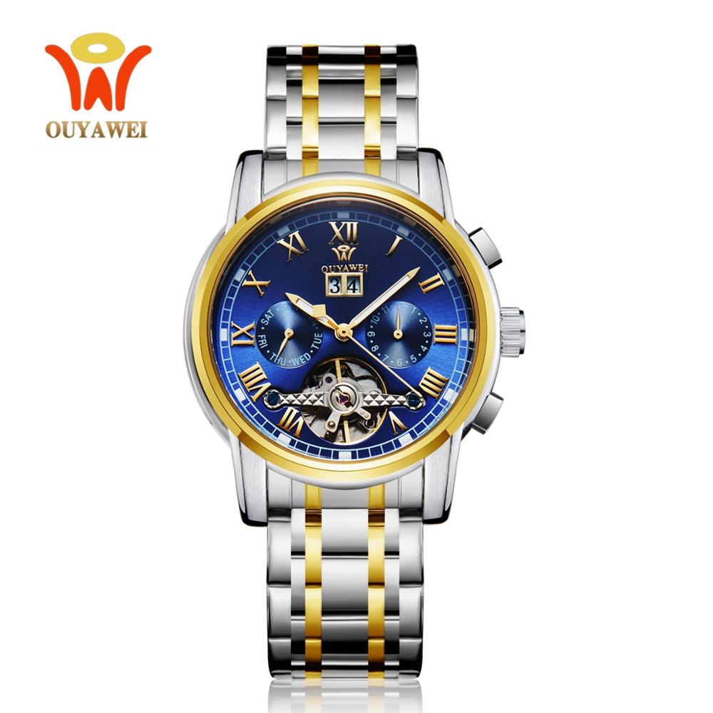 OYW Self Wind Mechanical Dress Man Wristwatch Watch Luxury Gold Analog Automatic Clock Calendar Tourbillon Watch Reloj Masculino