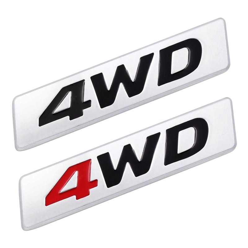 1pcs 3D Car Styling Metal 4WD Sticker Car Side Fender Rear Trunk Emblem Badge Sticker Decals For Hyundai IX25 IX35 Tucson