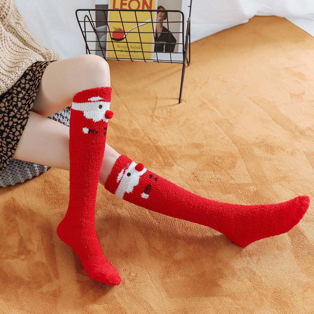Women Girls Stockings Socks Christmas Print Thigh High Over Knee High Socks Women Casual Print Female Long Knee Sock 2019