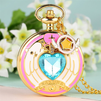 Heart Shaped Stone Charm Pendant Necklace Hot Anime Cardcaptor Sakura Quartz Pocket Watch Gifts For Student Girls