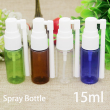 Free Shipping Transparent Green Brown Blue 15ml Plastic Spray Bottle with Long Sprayer Cosmetic Perfume Container Travel Package