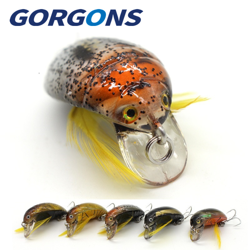 Fishing 1pc Gorgons Exquisite Fishing Tackle 35mm 4g Cicada Bait Fishing Lure Insect Bug Lure Sea Beetle Crank For Bass Carp Fishing