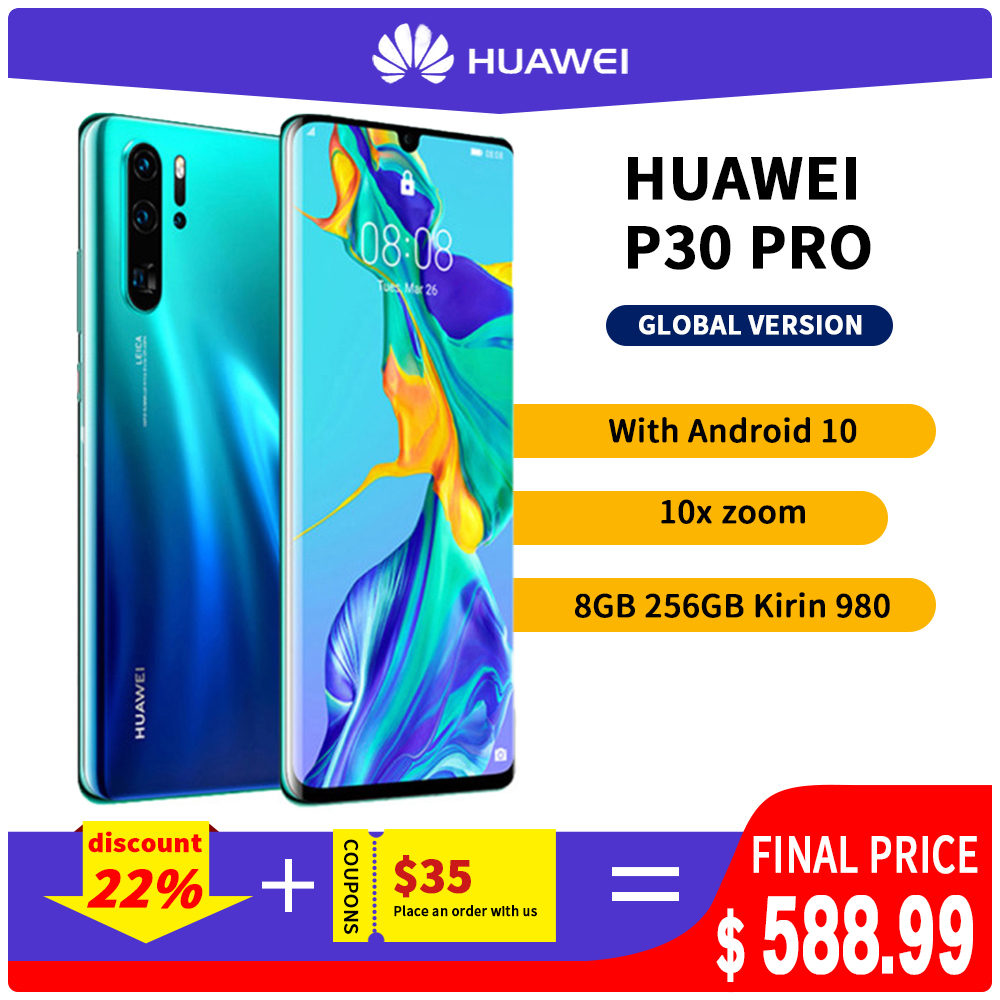 Huawei P30 Pro Smart phone Global Version 8GB 256GB 40MP Quad Camera Mobile phone 10x zoom 6.47''Screen Kirin 980 Smartph|Cellphones| - AliExpress