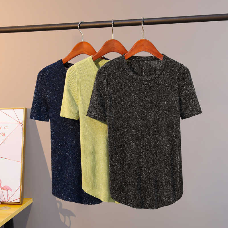Vrouwelijke Knit T-shirt Vrouwen Tops 2020 Lurex Glitter Zomer T-shirt Voor Vrouwen Zwart Witte T-shirt Korte T shirts Tops