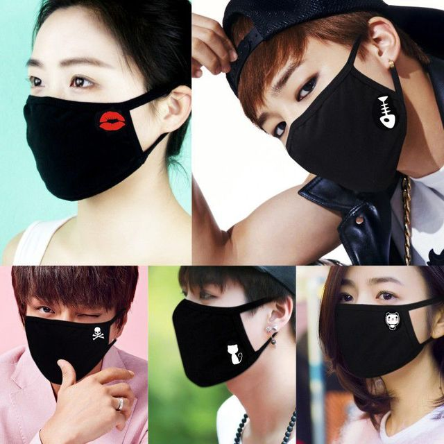 1PC Fashion Adult Cotton Anti Haze Smog Mouth Dust Mask Cute Print Bacteria Proof Flu Face Mask for Women and Men 1