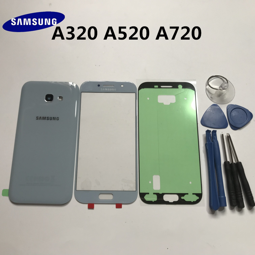 Original Samsung Galaxy A3 A320 A5 A520 A7 A720 A2017 Housing Back Glass Phone Rear Cover Battery Door+front Glass Lens+TOOLS