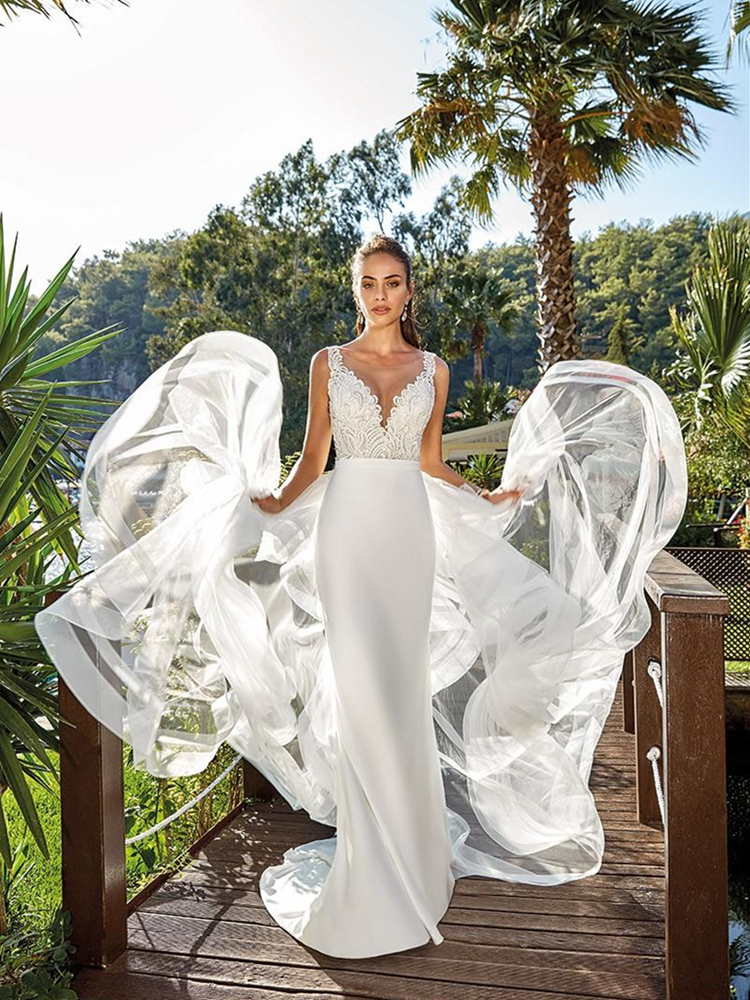 Removable Trail Wedding Dress Sleeveless Sheer Neck Lace Top Detachable Overskirt Mermaid Long Bridal Gowns Robe De Mariee