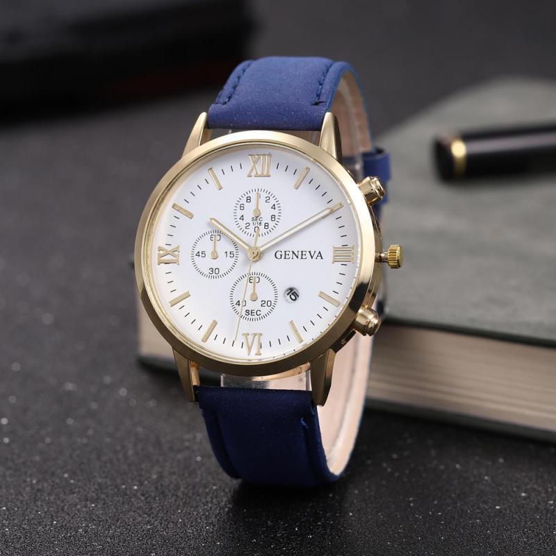 Fashion Mens Watch Leather Strap Bracelet Watches Male Analog Quartz Clock With Calendar Sport Wristwatch Relogio Masculino