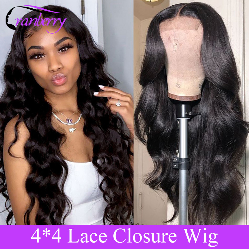 Cranberry Remy Hair 4*4 Lace Closure Wig Brazilian Body Wave Lace Wigs For Black Women Pre-Plucked Hairline 130 150 Density