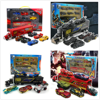 7PCS/Set Disney Pixar Cars Lightning McQueen Mater Jackson Storm Uncle Truck 1:55 Diecast Metal Car Model Toy Boy Christmas Gift image