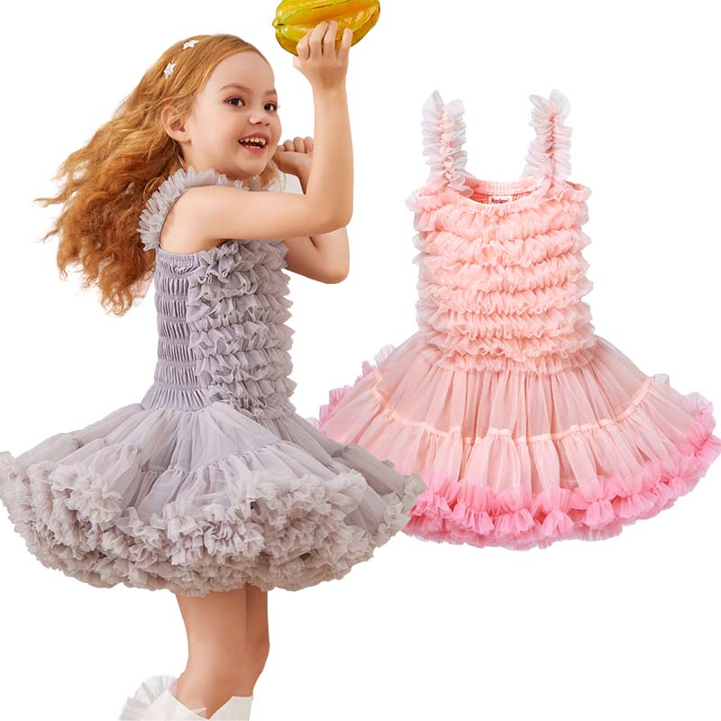 Princess-Dress Birthday Party Wedding Ruffles Baby-Girl Formal Kids Summer Shoulderless