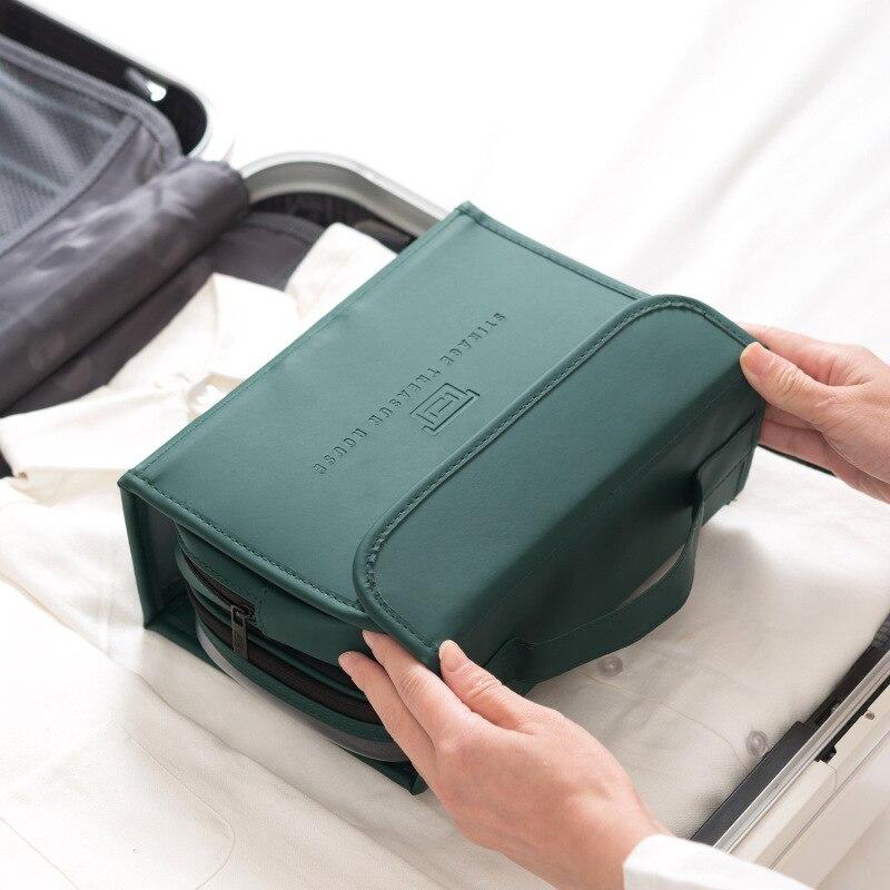 Women Bag Travel Wash Bag Portable Organizer Bathroom Hanging Bag Matte Finish Folding Pu Leather