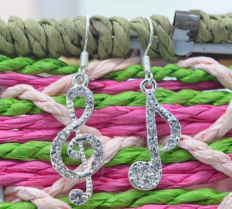 Fashion Style Charm Earring Elegant Lady Music Note Stud Crystal  EarHook Girls And Lady All Use For A Lot Of Occasion