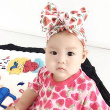 Infant Beanie Turban Hat Baby Hair Bows Photo Props cap Floral Girls Top knot Bow Stretchy Headwraps H263D