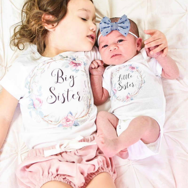 Family Match Tops Little//Big Sis Romper T-shirt Baby Girls Clothes Outfits 2019
