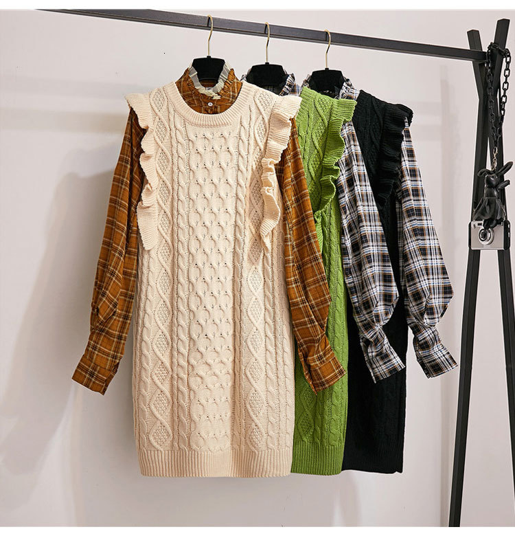 Women Autumn Shirt Clothing Set High Quality Plaid Long Sleeve Blouse+Sleeveless Solid Color Knitted Vest Tops Set