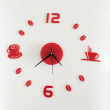 Funlife coffee cup acrylic wall clock clock study bedroom decorative wall sticker Waterproof Hair wc1020 funlife 3d diy moon stars clock acrylic mirror wall sticker