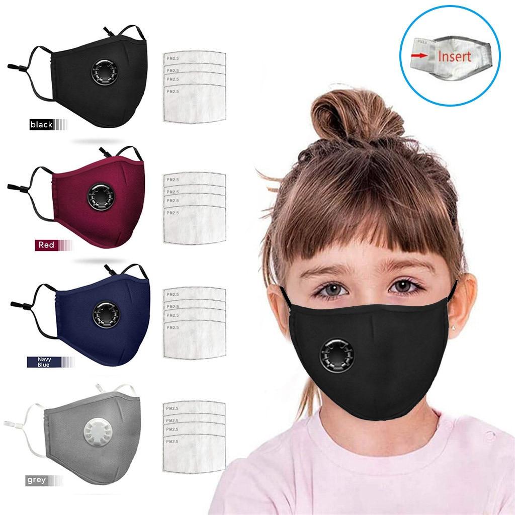 20 PCS Filter Fashion Kids Mask Mouth Respirator Washable Reusable Child Masks Cotton Unisex Mouth Muffle Black Anti Flu Mask