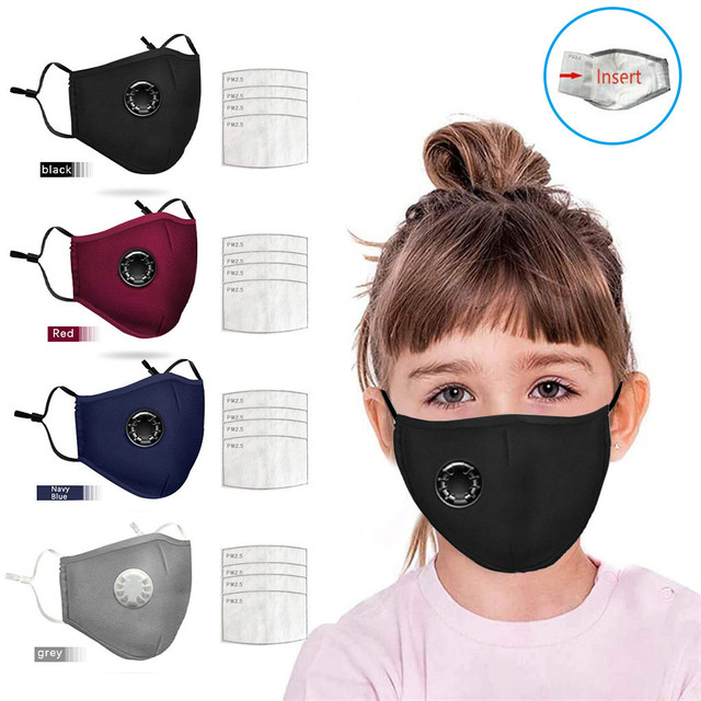 4 PCS Filter Fashion Kids Mask Mouth Respirator Washable Reusable Child Masks Cotton Unisex Mouth Muffle Black Anti Flu Mask
