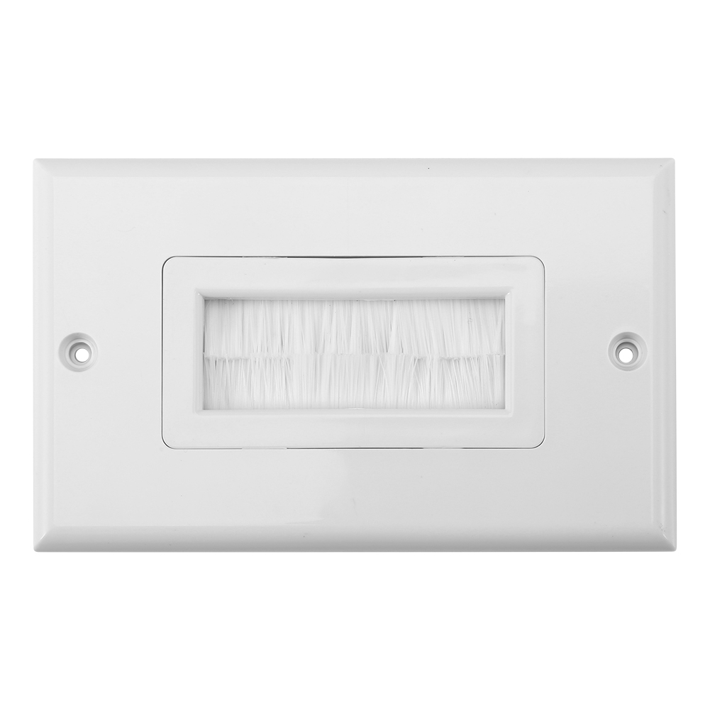 Cable Pass Through Home Single Gang Anti Dust Multifunctional Outlet Mount Panel ABS White Wall Socket Easy Install Brush Plate