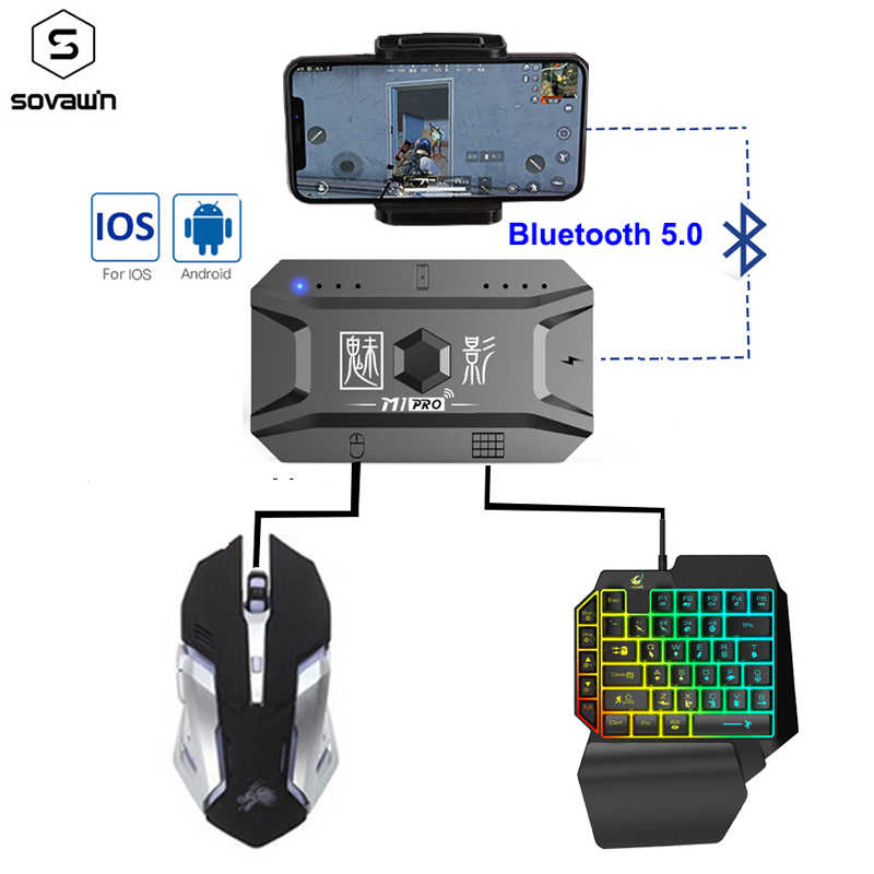 Plug and paly gamepad pubg controlador móvel gaming teclado mouse conversor bluetooth 5.0 para android adaptador de telefone para ios