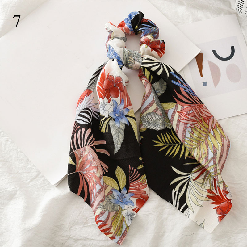 Bohème grande fleur chouchous longs banderoles arc cheveux écharpe femmes filles doux cheveux corde cravates mode cheveux accessoires chapeaux 47