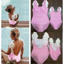 Family Matching Swimwear Swimsuits Outfits Dresses Bikini Mommy Baby-Girls Me And Wings