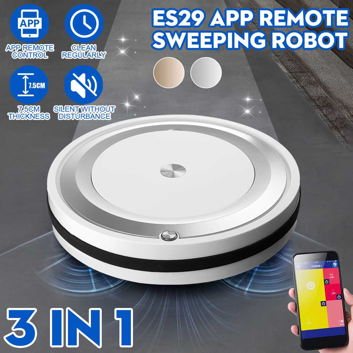 3 In 1 Multifunction Sweep Mopping Robot Vacuum Cleaner Rechargeable Dry Wet...